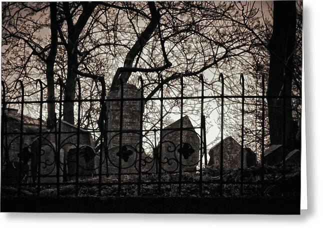 Texting Greeting Cards - Jewish Cemetery Prague Greeting Card by Joan Carroll