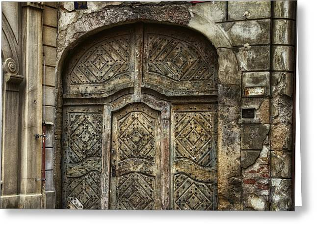 Entrance Door Greeting Cards - Jewish Quarter Doorway Greeting Card by Joan Carroll