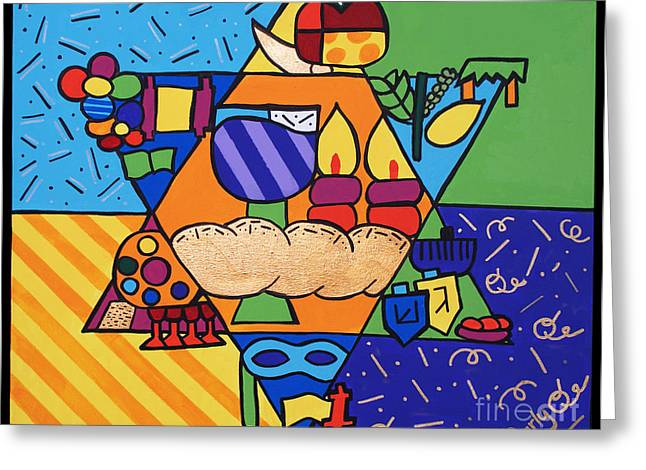 Purim Paintings Greeting Cards - Jewish Year Greeting Card by Carly Khabinsky