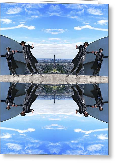 Man Dressed In Black Greeting Cards - Jews in black can fly Color Greeting Card by Yevgeni Kacnelson