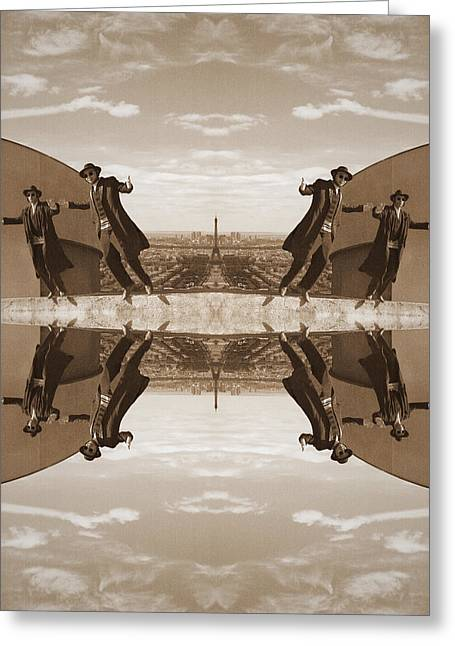 Best Sellers -  - Man Dressed In Black Greeting Cards - Jews in black can fly Old Greeting Card by Yevgeni Kacnelson