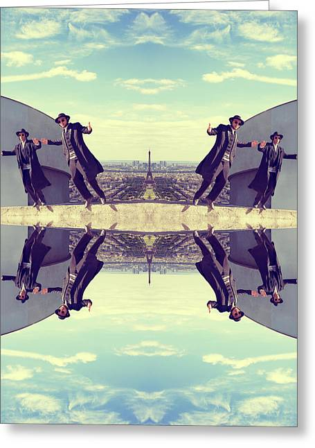 Man Dressed In Black Greeting Cards - Jews in black can fly Vintage Greeting Card by Yevgeni Kacnelson