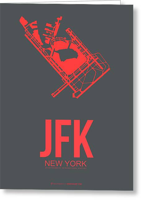 Airports Greeting Cards - JFK Airport Poster 2 Greeting Card by Naxart Studio