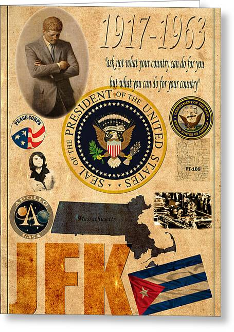 Jackie Kennedy Onassis Greeting Cards - Jfk Greeting Card by Andrew Fare