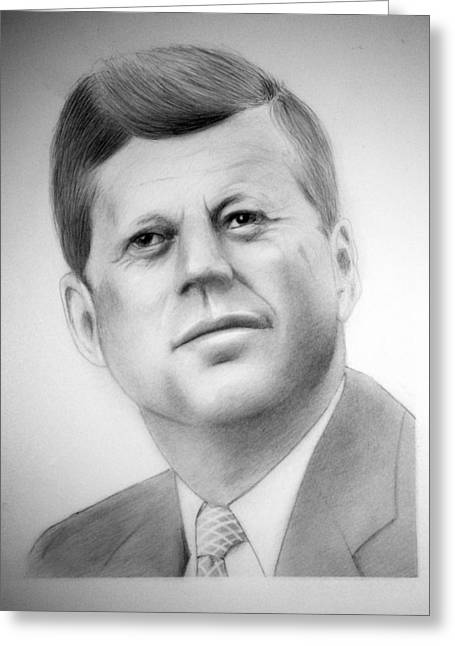 Camelot Drawings Greeting Cards - Jfk Greeting Card by Kendrick Roy