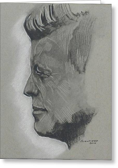 Assassinated Drawings Greeting Cards - Jfk Greeting Card by Gianpiero M