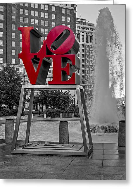 """robert Indiana"" Greeting Cards - JFK Plaza Love Park BW I Greeting Card by Susan Candelario"