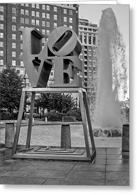"""robert Indiana"" Greeting Cards - JFK Plaza Love Park BW  Greeting Card by Susan Candelario"