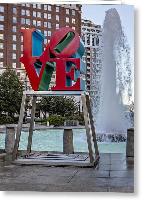 """robert Indiana"" Greeting Cards - JFK Plaza Love Park Greeting Card by Susan Candelario"