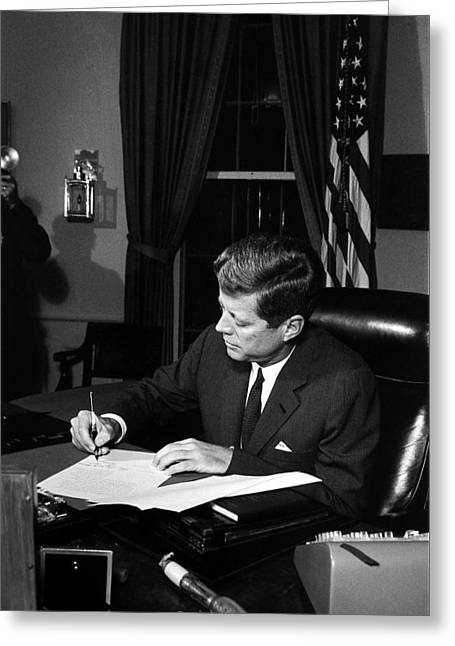 Leader Greeting Cards - JFK Signing The Cuba Quarantine Greeting Card by War Is Hell Store