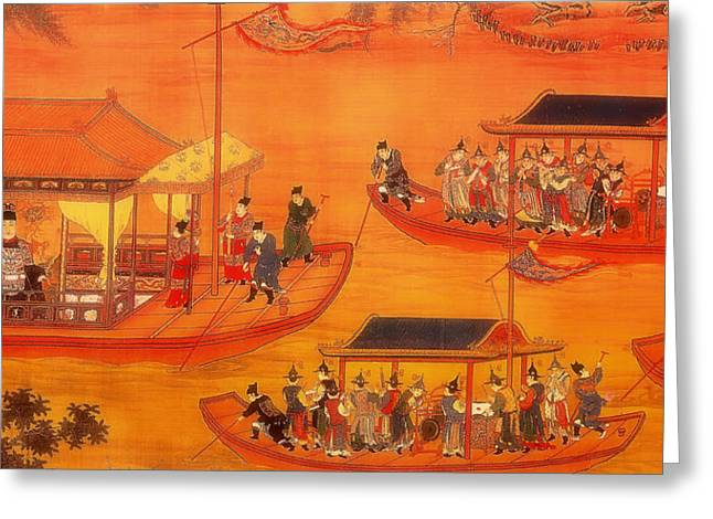 Boats On Water Greeting Cards - Jiajing Emperor on His State Barge Greeting Card by Mountain Dreams