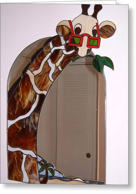 Mammals Glass Art Greeting Cards - Jiffy Greeting Card by Nora Solomon