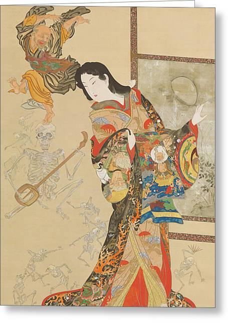 Jigoku Dayu Greeting Card by Kawanabe Kyosai