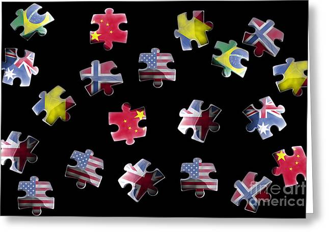 Jigsaw Greeting Cards - Jigsaw puzzle flag pieces Greeting Card by Simon Bratt Photography LRPS