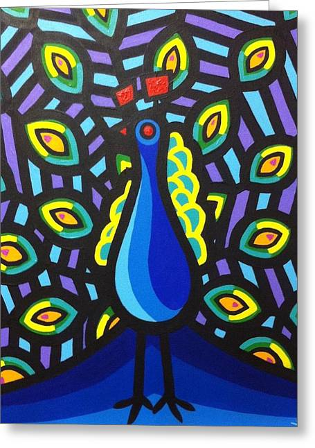 Tropical Bird Art Print Greeting Cards - Jillians Peacock Greeting Card by John  Nolan