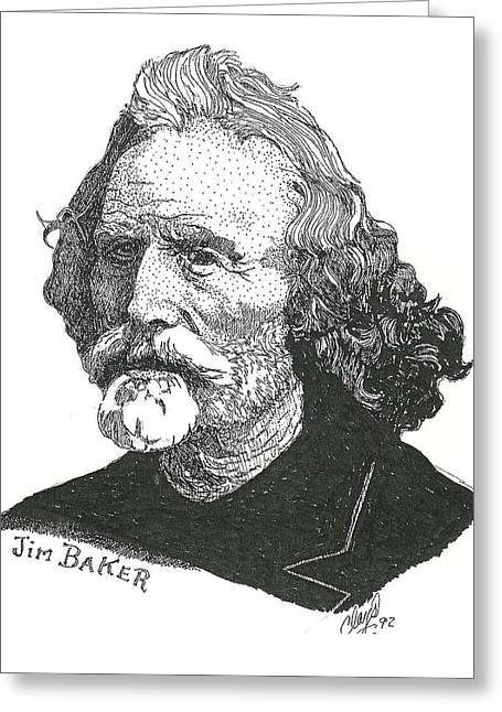 Pen And Paper Greeting Cards - Jim Baker Greeting Card by Clayton Cannaday
