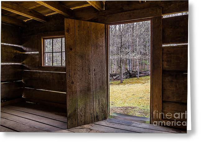 Old Cabins Greeting Cards - Jim Bales Cabin Greeting Card by Anthony Heflin