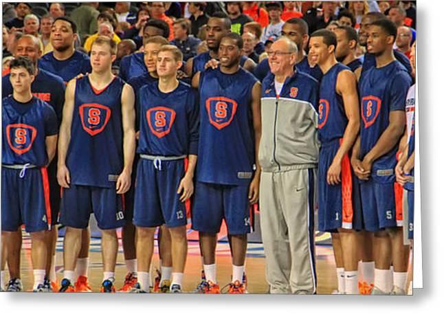 Syracuse University Basketball Greeting Cards - Jim Boeheim and the Syracuse Orangemen Greeting Card by Mountain Dreams