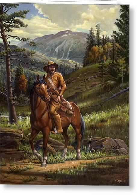 Pioneer Scene Paintings Greeting Cards - Jim Bridger - Mountain Man - Frontiersman - Trapper - Wyoming Landscape Greeting Card by Walt Curlee