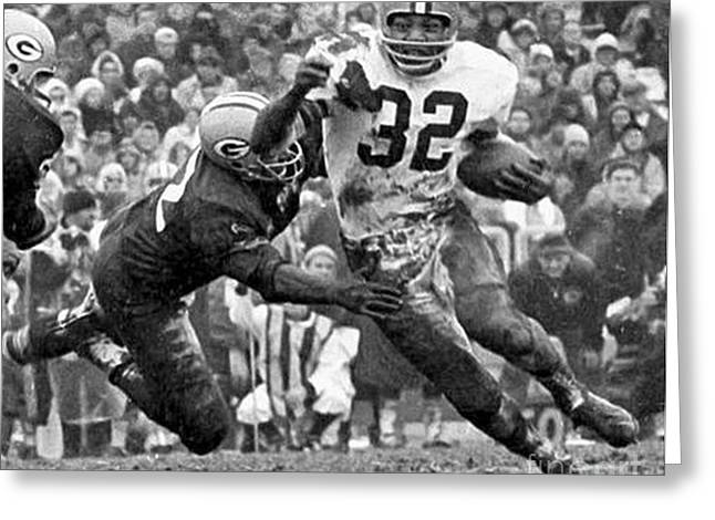 Football Photographs Greeting Cards - Jim Brown #32 Greeting Card by R A W M
