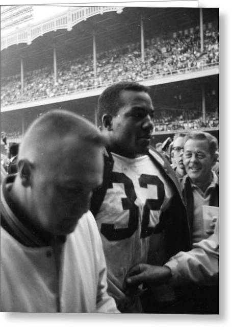 National Football League Greeting Cards - Jim Brown After Game Fans Clapping Greeting Card by Retro Images Archive
