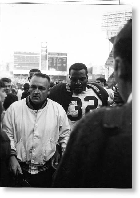 National Football League Greeting Cards - Jim Brown The Great Leaving The Field Greeting Card by Retro Images Archive
