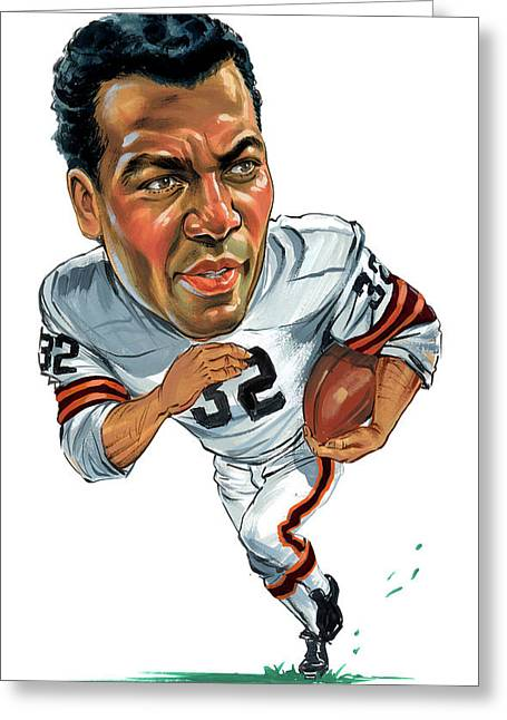 Cleveland Browns Greeting Cards - Jim Brown Greeting Card by Art