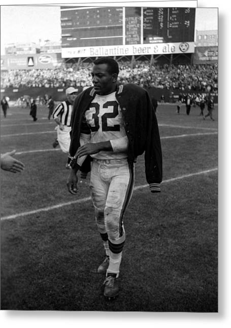 National Football League Greeting Cards - Jim Brown After Game Greeting Card by Retro Images Archive