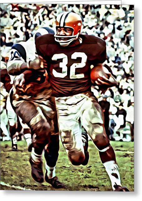 Cleveland Browns Greeting Cards - Jim Brown Greeting Card by Florian Rodarte