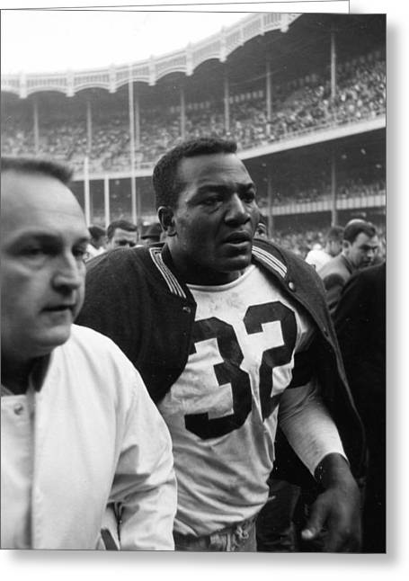 National Football League Greeting Cards - Jim Brown Post Game  Greeting Card by Retro Images Archive
