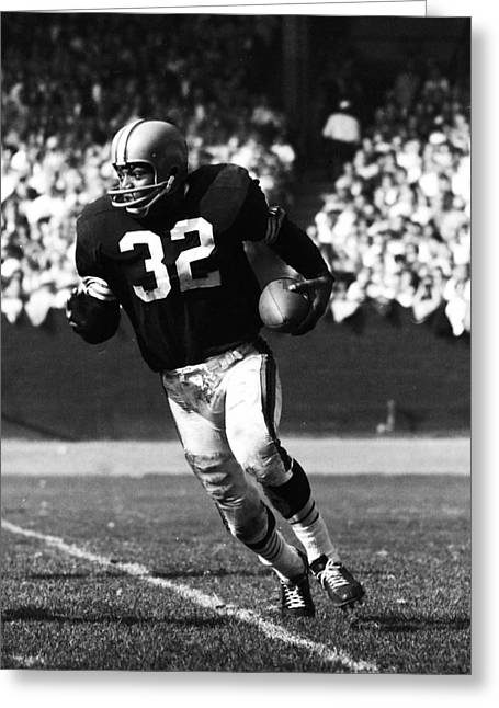 National Football League Greeting Cards - Jim Brown Running Down Field Greeting Card by Retro Images Archive