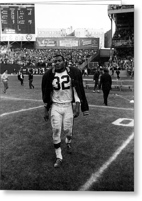 National Football League Photographs Greeting Cards - Jim Brown With Coat Over Shoulder Pads Greeting Card by Retro Images Archive