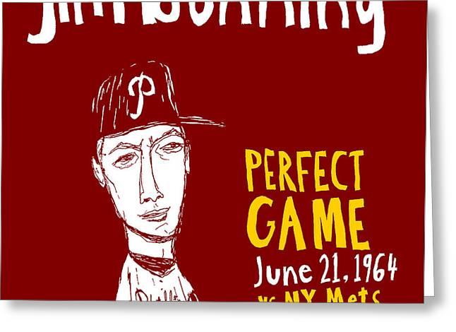 Jim Bunning Philadelphia Phillies Greeting Card by Jay Perkins
