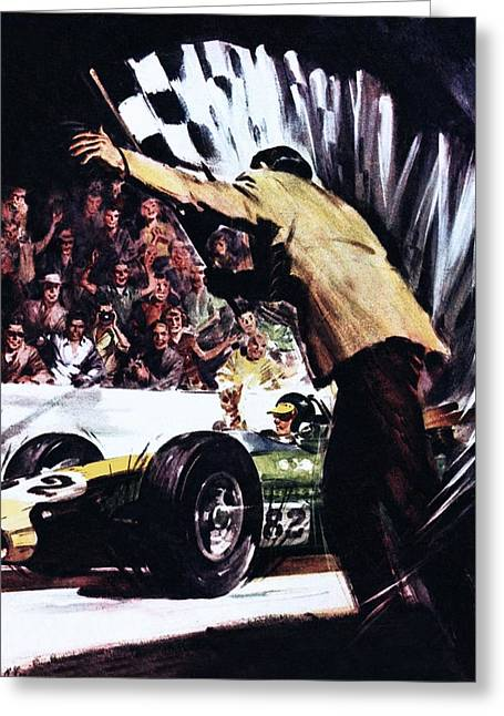 Jim Greeting Cards - Jim Clark Wins Americas Big Race Greeting Card by James Edwin McConnell
