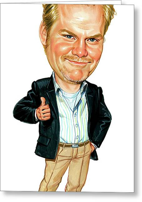 Comedian Paintings Greeting Cards - Jim Gaffigan Greeting Card by Art