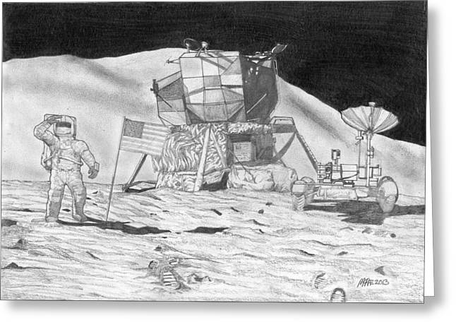 Nasa Drawings Greeting Cards - Jim Irwin on the Moon Apollo 15 Greeting Card by Paul McRae