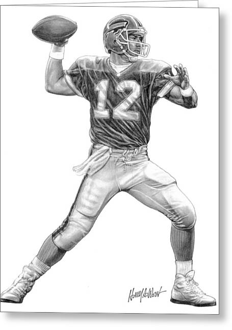 Sports Drawings Drawings Greeting Cards - Jim Kelly Greeting Card by Harry West