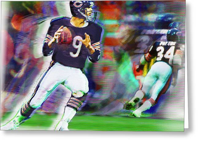Pastimes Mixed Media Greeting Cards - Jim McMahon With Walter Payton Chicago Bears Greeting Card by Tony Rubino