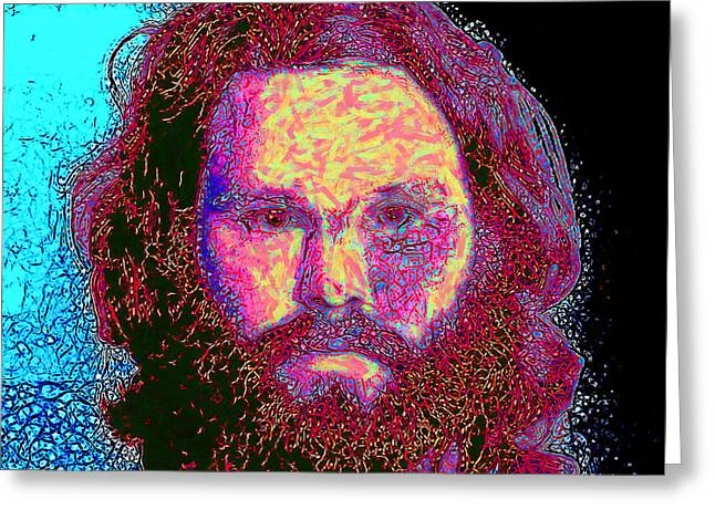 Alcatraz Digital Greeting Cards - Jim Morrison 20130329 square Greeting Card by Wingsdomain Art and Photography