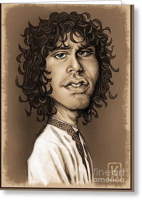 Caricature Digital Art Greeting Cards - Jim Morrison Greeting Card by Andre Koekemoer