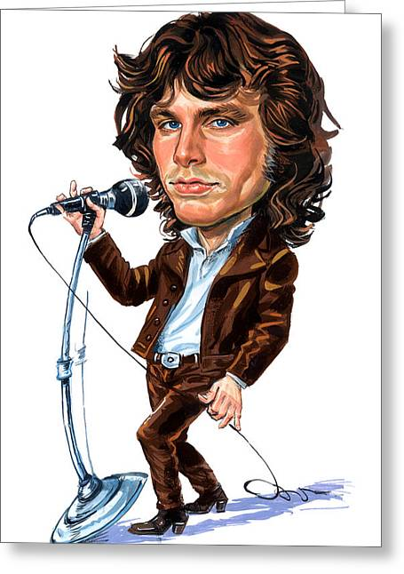 Singer Paintings Greeting Cards - Jim Morrison Greeting Card by Art