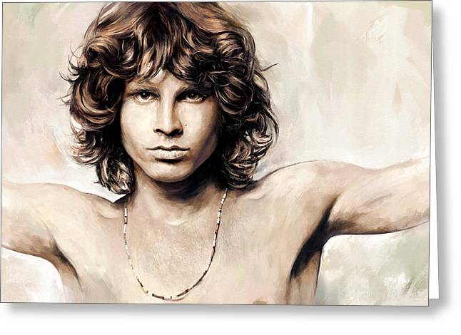 The Doors Greeting Cards - Jim Morrison Artwork 1 Greeting Card by Sheraz A