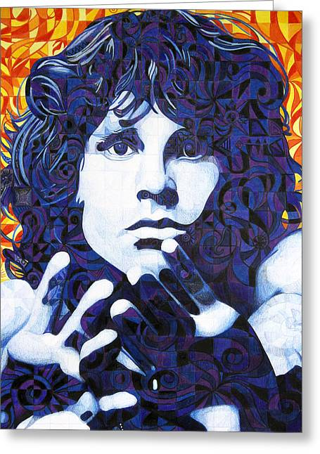 Lead Singer Greeting Cards - Jim Morrison Chuck Close Style Greeting Card by Joshua Morton