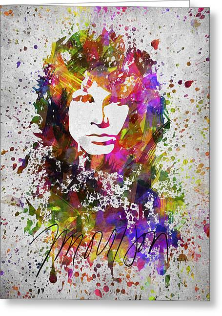 Splutter Greeting Cards - Jim Morrison in Color Greeting Card by Aged Pixel