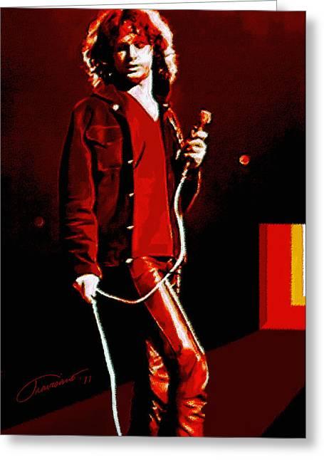 Icons Prints On Canvas Greeting Cards - Jim Morrison Greeting Card by John Travisano
