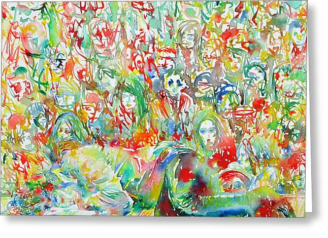 Psychedelia Greeting Cards - Jim Morrison Live On Stage.2 Greeting Card by Fabrizio Cassetta