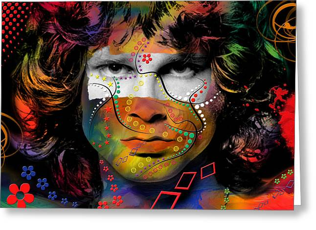 Hollywood Legend Greeting Cards - Jim Morrison Greeting Card by Mark Ashkenazi