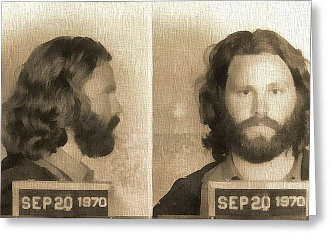 Jim Morrison Mug Shot Greeting Card by Dan Sproul