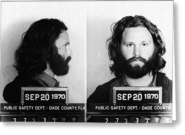 Jim Morrison Mug Shot In Black And White Greeting Card by Digital Reproductions