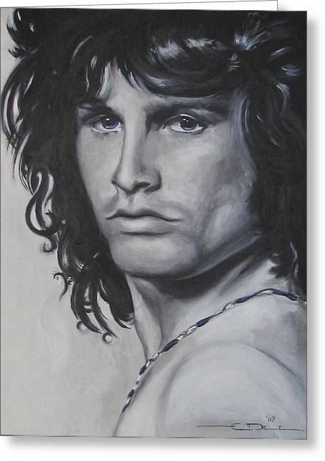 Tribute Drawings Greeting Cards - Jim Morrison - Notes Greeting Card by Eric Dee